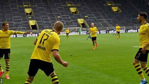 Haaland Scores in Dortmund Win On Bundesliga Return