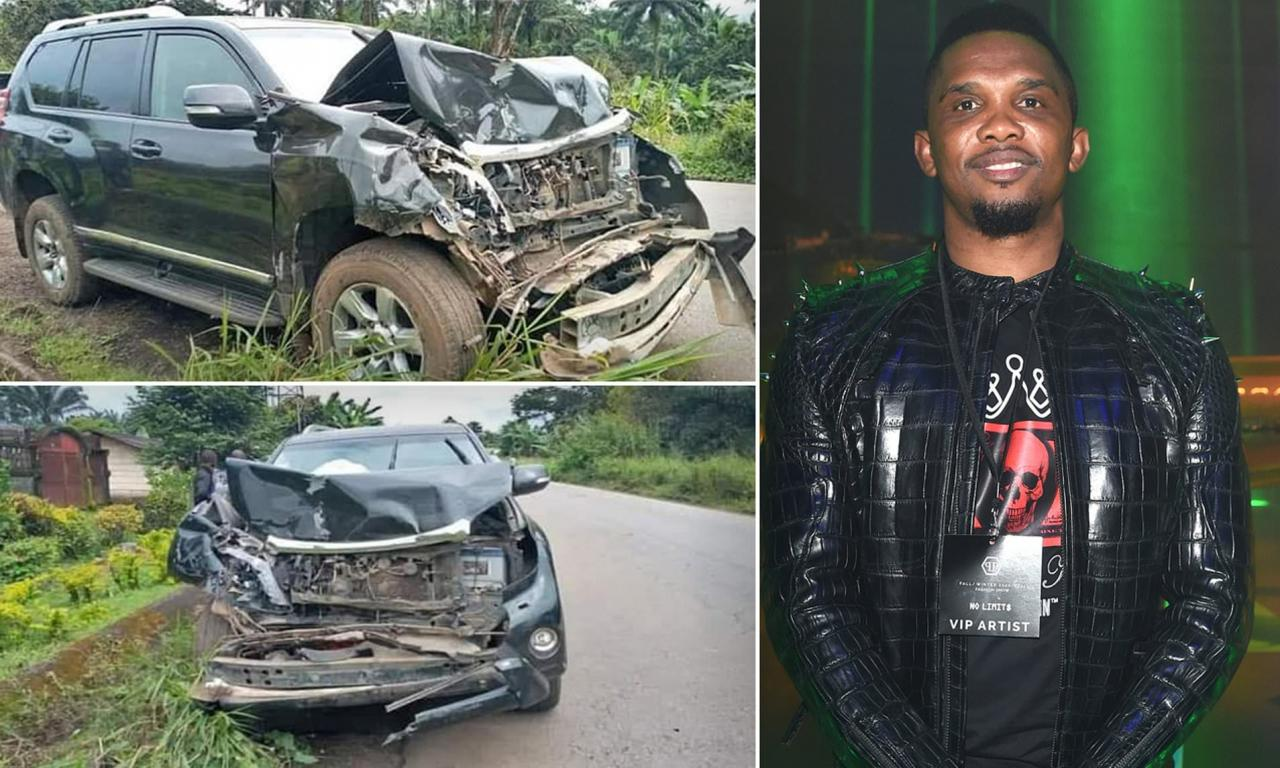 Barcelona Legend, Samuel Eto'o Hospitalized With Minor Head Injury After Being Involved in A Car Accident in Cameroon [Photos]